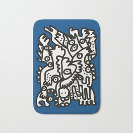 Blue Navy Color 2020 with Black and White Cool Monsters Bath Mat
