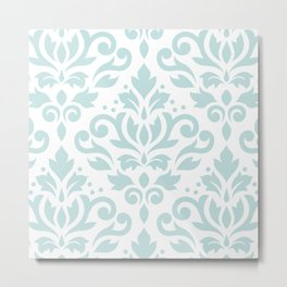 Scroll Damask Lg Pattern Duck Egg Blue on White Metal Print