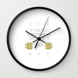 It's The Most Wonderful Time For A Beer Christmas Wall Clock