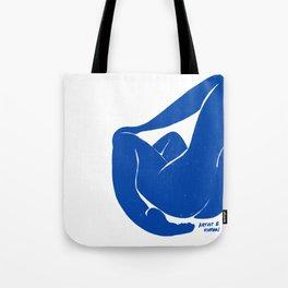 Whispering Nude in Matisse Blue Tote Bag