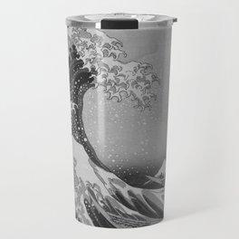 Black & White Japanese Great Wave off Kanagawa by Hokusai Travel Mug