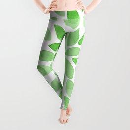 Watercolor brush strokes - green Leggings