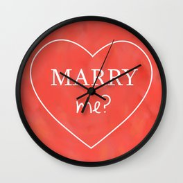 Valentines Day Marry Me Wall Clock