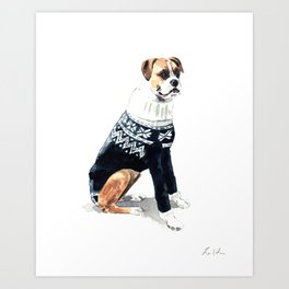 Sweater Weather Dog in Fairisle Turtleneck Art Print