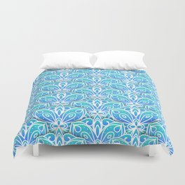 Decorative Layers of Blue Flowers Duvet Cover