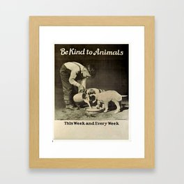 Vintage Be Kind To Animals Advert - Black and White Framed Art Print