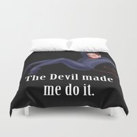 crowley Duvet Covers featuring The Devil made me do it by Justyna Rerak