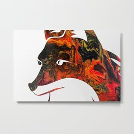 White Fox Head Silhouette on Fluid Art Pour Metal Print