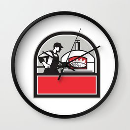 Pizza Cook Peel Wood Fired Oven Crest Retro Wall Clock
