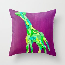 Giraffe collage of paint samples Throw Pillow