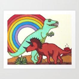 Dinosaur Rainbow Boner Art Print