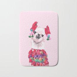 Llama in Colourful Costume Bath Mat