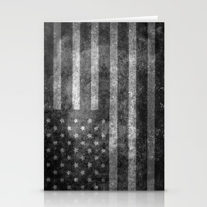 US flag, Old Glory in black & white Stationery Cards