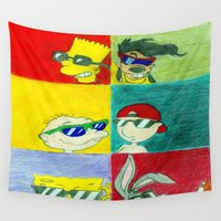 90s Wall Tapestries featuring 90s Cool Kids by Artistic