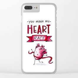 YOU MAKE MY HEART RACE Clear iPhone Case