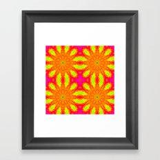 Hot Pink Sunburst Flowers Framed Art Print