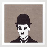 chaplin Art Prints featuring chaplin by kate gabrielle