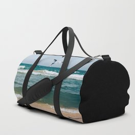 Gull Flight Over Lake Michigan Duffle Bag