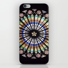 Stained glass cathedral rosette iPhone Skin