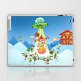 Santa Claus Abducted by a UFO just before Christmas Laptop & iPad Skin