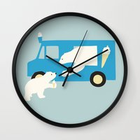 icecream Wall Clocks featuring ICECREAM by La Farme