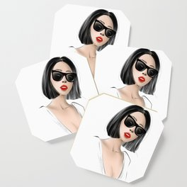 beautiful girl with short bob hair and red lips Coaster