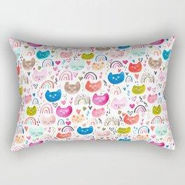 Happy cats and rainbows Rectangular Pillow