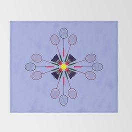 Badminton Racket and Shuttlecock Design Throw Blanket