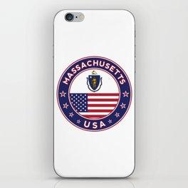 Massachusetts, Massachusetts t-shirt, Massachusetts sticker, circle, Massachusetts flag, white bg iPhone Skin