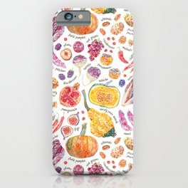 Autumn Harvest Pattern Annotated iPhone Case