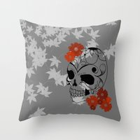 sugar skull Throw Pillows featuring Sugar Skull by Tanya Thomas