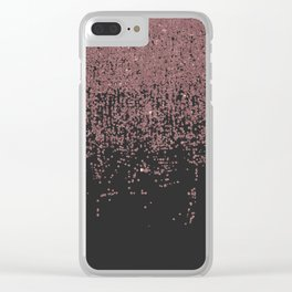 Chic Rose Gold Speckled Glitter Ombre Black Clear iPhone Case