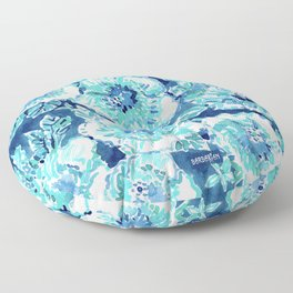 HIBISCUS BOUNTY Blue Tropical Watercolor Floor Pillow