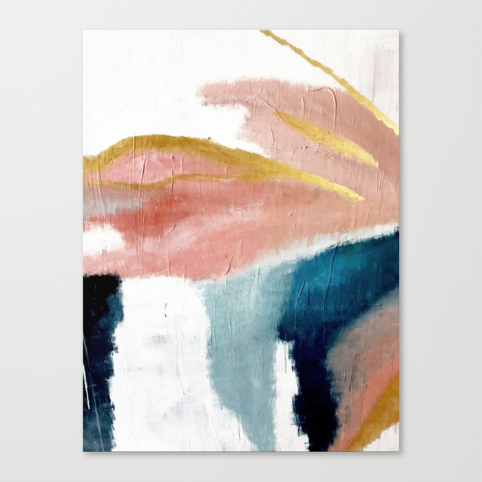 Exhale: a pretty, minimal, acrylic piece in pinks, blues, and gold Leinwanddruck