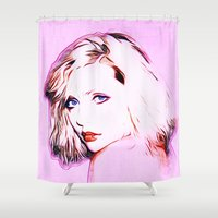 blondie Shower Curtains featuring Debbie Harry - Blondie - Pop Art by William Cuccio aka WCSmack