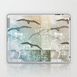 Free Like A Bird Seagull Mixed Media Art Laptop & iPad Skin