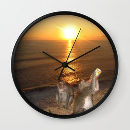 Monkey Drinking in the Sunset Wall Clock