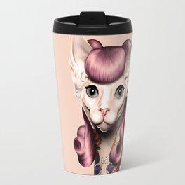 Ramona The Cat - Background Color: Nude Travel Mug