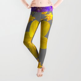 ULTRA VIOLET PURPLE & YELLOW FLOWERS ART DESIGN Leggings