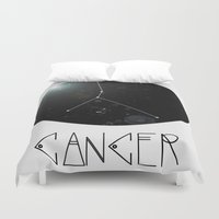 zodiac Duvet Covers featuring Zodiac: CANCER by Tara Pfeifer
