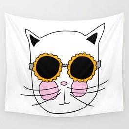 Cat Sunflower Glasses Wall Tapestry
