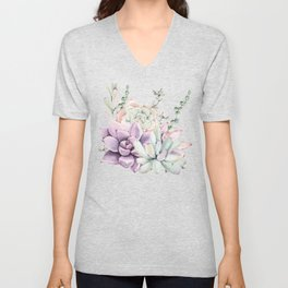 Succulents Mint and Purple by Nature Magick Unisex V-Neck