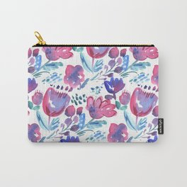 boho style floral rustic hand drawn illustration. watercolor paint image. decorative stylized flowers. pink abstract flower fabric Carry-All Pouch