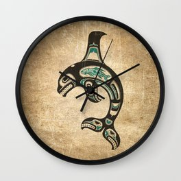 Blue and Black Haida Spirit Killer Whale Wall Clock