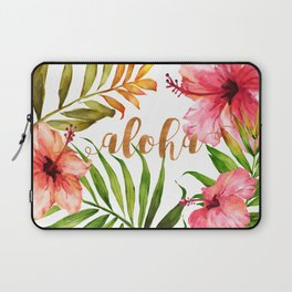 Aloha Watercolor Tropical Hawaiian leaves and flowers Laptop Sleeve