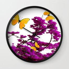 YELLOW BUTTERFLIES & PURPLE BOUGAINVILLEA FLOWERS Wall Clock