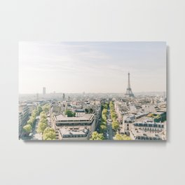 City View of Paris from the Arc de Triomphe | View of Eiffel Tower, Paris, France | Travel Photography Metal Print