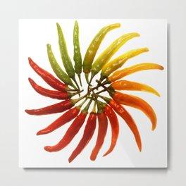 Charleston Hot Peppers Color Wheel Metal Print