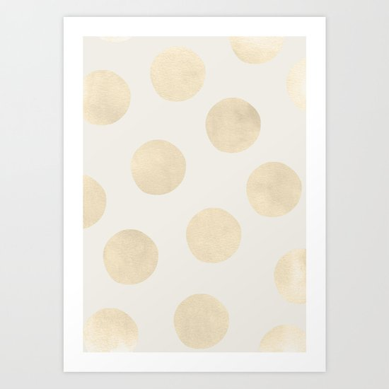 Gold Polka Dots Art Print