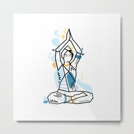 Yoga geometric asanas - meditation lotus pose with hands up Metal Print